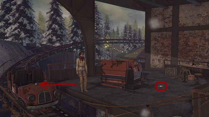 Pick up the crumpled up note thats lying on the ground next to the car, and then approach the car on the track - its the one thats just arrived - Find the activation key | Chapter five | Walkthrough - Chapter five - Syberia 3 Game Guide