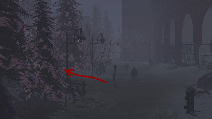 When you reach the place where a gap in the fence is visible (top of the screen), turn into the path between the lampposts - it will lead you to another building, with the door embellished with golden ornaments - Open the gates of the temple - Chapter seven - Syberia 3 Game Guide