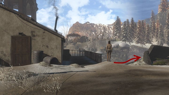 Having gone past it, go towards the sheer riverbank - you have to walk around on the left the place reminding a furnice with four chimneys surrounded by dark stones - Look for the watcher on the other side of the river - Chapter eight - Syberia 3 Game Guide