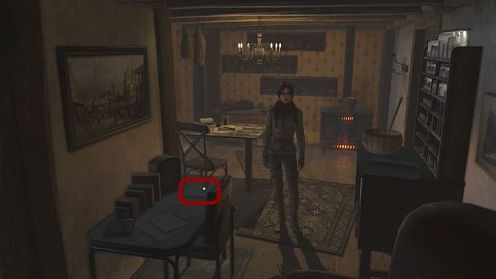 Get into the next room and collect the papers lying on the table (customs officers pile of papers) - Get some booze for the watcher - Chapter eight - Syberia 3 Game Guide