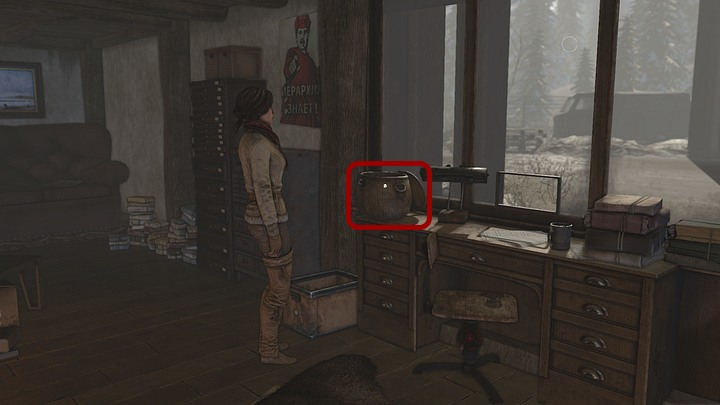 When getting back, zoom in on a wicker basket and take the hip flask (customs officers flask) - Get some booze for the watcher - Chapter eight - Syberia 3 Game Guide
