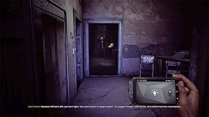 If you didnt save other patients during previous visits to the ward, one of the rooms on the left side will be inhabited by John Keating (Mad Hatter - the picture above) and you get Convert achievement - Further exploration of the C building | Black | Walkthrough - Black - Get Even Game Guide