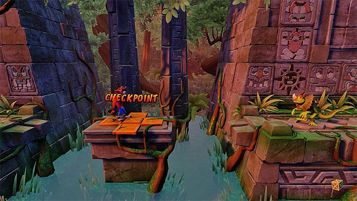 Stop for a moment at the checkpoint presented in the picture - The Lost City | Wumpa Island | Levels - Crash Bandicoot - Wumpa Island - Crash Bandicoot N. Sane Trilogy Game Guide