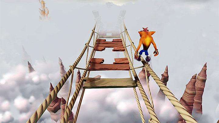 If you find it difficult to jump between planks or you dont want to lose too many lives, you can try to run across one of the ropes - Road to Nowhere | Wumpa Island | Levels - Crash Bandicoot - Wumpa Island - Crash Bandicoot N. Sane Trilogy Game Guide
