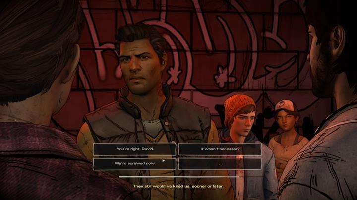 Chapter begins with an argument between David and the rest of the party - Chapter 2 - Promises and Lies | Episode 5 - Episode 5: From the Gallows - The Walking Dead: The Telltale Series - A New Frontier Game Guide