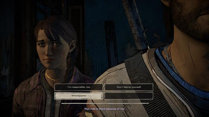 The group moves to an upper floor, leaving you with an opportunity to talk with Kate - Chapter 2 - Promises and Lies   Episode 5 - Episode 5: From the Gallows - The Walking Dead: The Telltale Series - A New Frontier Game Guide