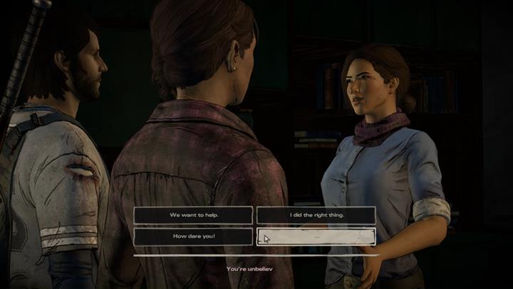 Javier enters one of the apartments, finding Eleonore - her first reaction may vary depending on whether youve killed Conrad or had witnessed Tripps execution - Chapter 2 - Promises and Lies | Episode 5 - Episode 5: From the Gallows - The Walking Dead: The Telltale Series - A New Frontier Game Guide