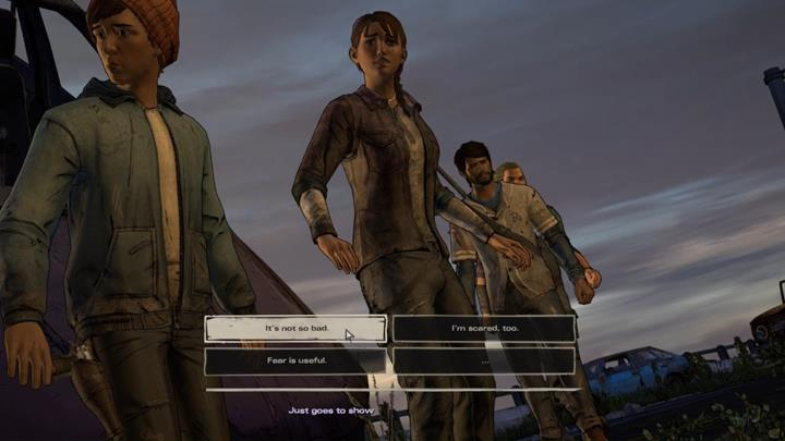 Proceed using the ledge and get a hold of your companions hand to avoid falling from the freeway - Chapter 3 - Family Values | Episode 5 - Episode 5: From the Gallows - The Walking Dead: The Telltale Series - A New Frontier Game Guide