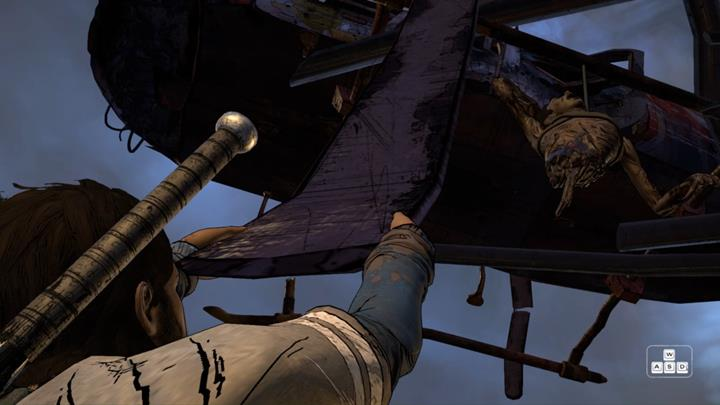 Unfortunately, Javier will break the propeller blade, suspending him over the ruptured part of the highway - Chapter 3 - Family Values | Episode 5 - Episode 5: From the Gallows - The Walking Dead: The Telltale Series - A New Frontier Game Guide