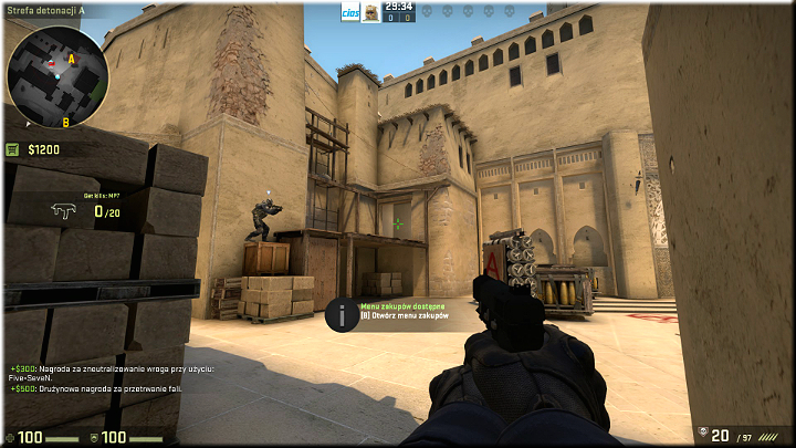 In this position, you can feel a little bit safer because you are between two covers of bricks and the wall - Mission 7 � Mirage - Keep It Professional - Missions - Counter-Strike: Global Offensive Game Guide