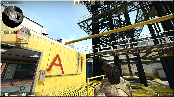While exiting the main room, mind the roof of the building, because opponents tend to jump off it to get inside faster - do not let yourself be surprised - Mission 8 - Black Gold - Rigged - Missions - Counter-Strike: Global Offensive Game Guide