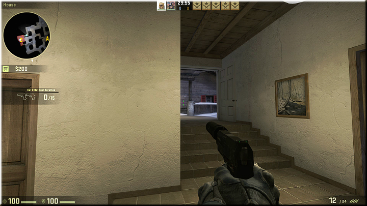 In the above screenshot, there is a corridor to the stairs, which may be used by the opponents to get into the building - Mission 12 - Austria - One for Each of You - Missions - Counter-Strike: Global Offensive Game Guide