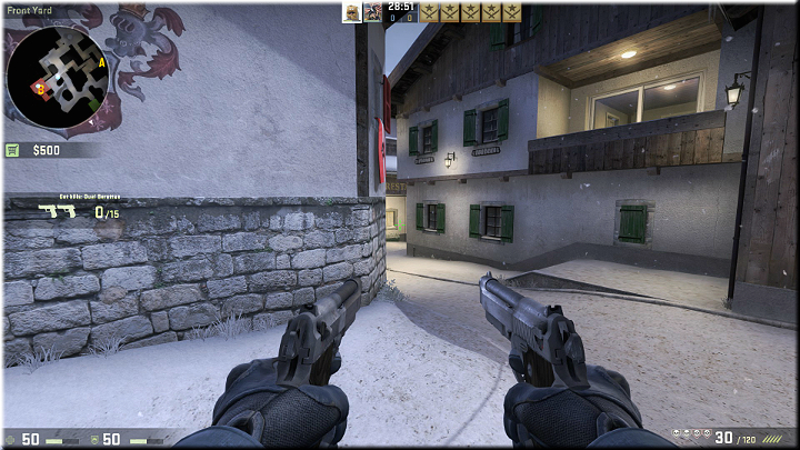As you go a bit ahead from the respawning point, you can take a look over the wall and make sure that opponents are not attacking - Mission 12 - Austria - One for Each of You - Missions - Counter-Strike: Global Offensive Game Guide