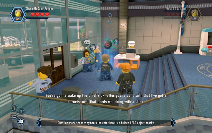 Blue fields allow you to activate the scanner, which will uncover footprints - Exploring the station | Chapter 1 - Chapter 1 - LEGO City: Undercover Game Guide