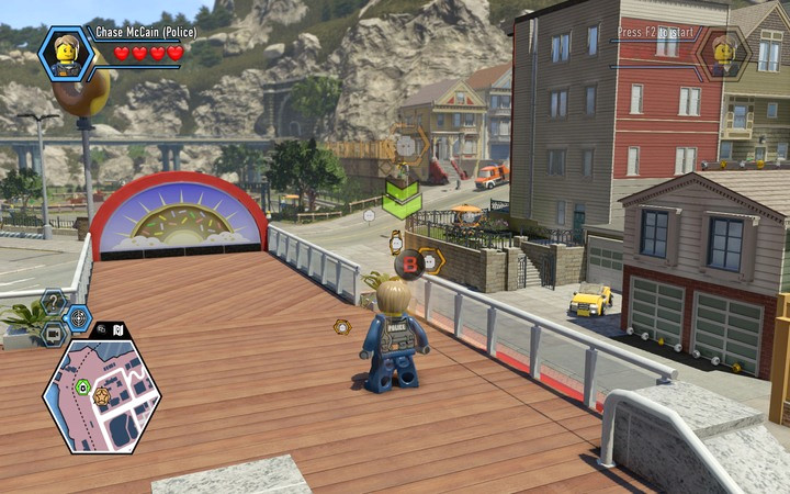 Exit onto the roof of the cafe and activate the scanner in the orange field - The bank robbery | Chapter 1 - Chapter 1 - LEGO City: Undercover Game Guide