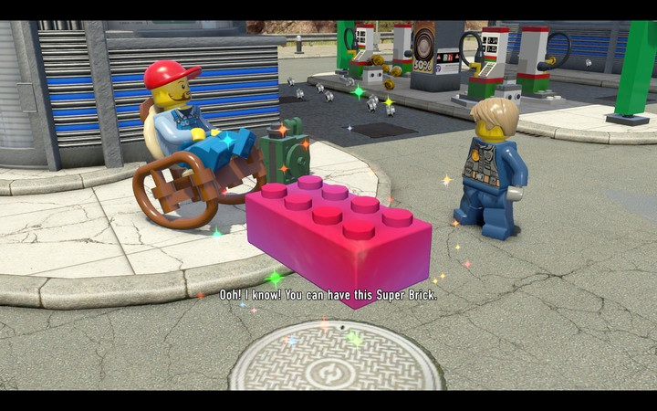 A Super Brick � from a distance you can mistake them for a red block, but these change colours - The beginning of the task | Chapter 2 - Chapter 2 - LEGO City: Undercover Game Guide