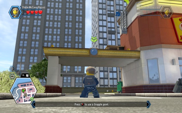 By using the grapple gun you can latch onto hooks and reach inaccessible areas - The beginning of the task | Chapter 2 - Chapter 2 - LEGO City: Undercover Game Guide