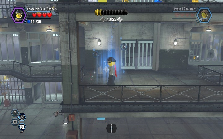 Change your disguise to the police kit, in order to use the blue field - The prison cells | Chapter 3 - Chapter 3 - LEGO City: Undercover Game Guide