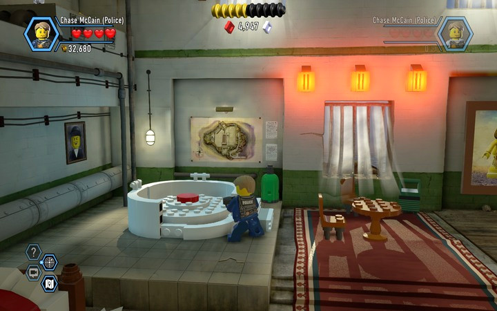 The first button is in the Jacuzzi - The prison cells | Chapter 3 - Chapter 3 - LEGO City: Undercover Game Guide