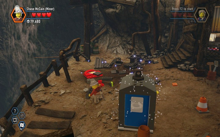 Destroy the elements of the environment, in order to construct something that will allow you to reach the shed�s roof - The Bluebell Mine | Chapter 3 - Chapter 3 - LEGO City: Undercover Game Guide