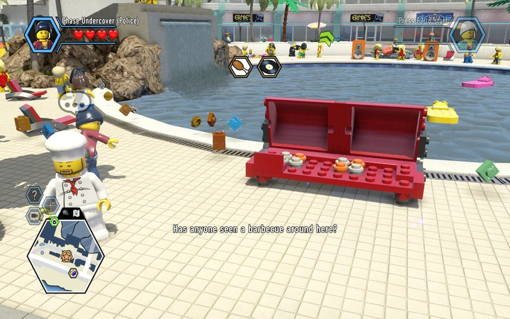 First, build a grill in front of the pool from the available blocks - The Hotel | Chapter 5 - Chapter 5 - LEGO City: Undercover Game Guide
