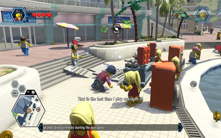 What you still need is music � there is a DJ stand by the pool, but it is not in the best of states - The Hotel | Chapter 5 - Chapter 5 - LEGO City: Undercover Game Guide