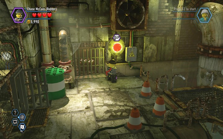 Use the Colour Gun to change the colour of the button - Robbing the gem from the bank | Chapter 6 - Chapter 6 - LEGO City: Undercover Game Guide