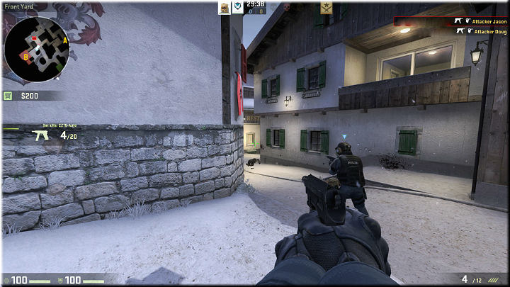Going a bit further from the respawn, you can lean out from behind the wall to check whether any enemies are approaching - Mission 19 - Austria - Killer views - Difficult missions - Counter-Strike: Global Offensive Game Guide
