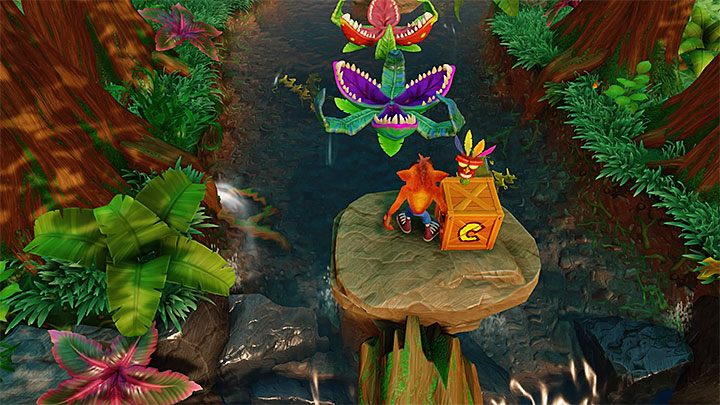 Instead of going forward, first go down the screen - you will find the first of three tokens required for unlocking the bonus level - Upstream | N. Sanity Island | Levels - Crash Bandicoot - N. Sanity Island - Crash Bandicoot N. Sane Trilogy Game Guide