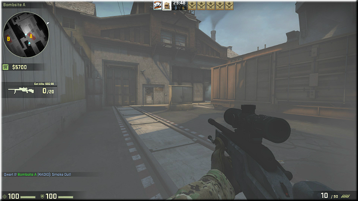 The picture is a bit foggy, since Im standing in a cloud of smoke - Mission 20 - Train - Scouting mission - Difficult missions - Counter-Strike: Global Offensive Game Guide