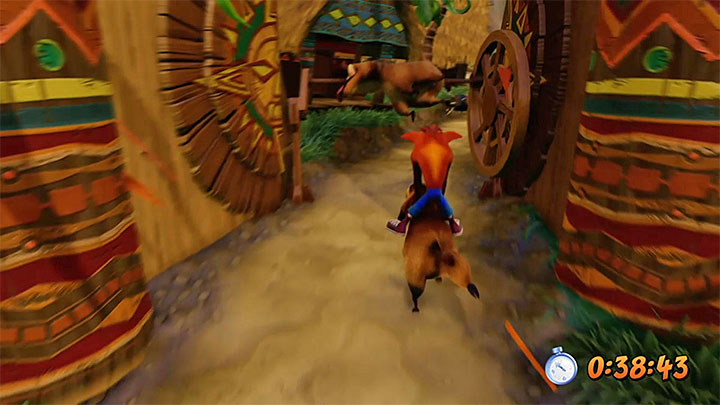 In the final phase of the ride you will encounter a new type of obstacles - grilled hogs - Hog Wild | N. Sanity Island | Levels - Crash Bandicoot - N. Sanity Island - Crash Bandicoot N. Sane Trilogy Game Guide