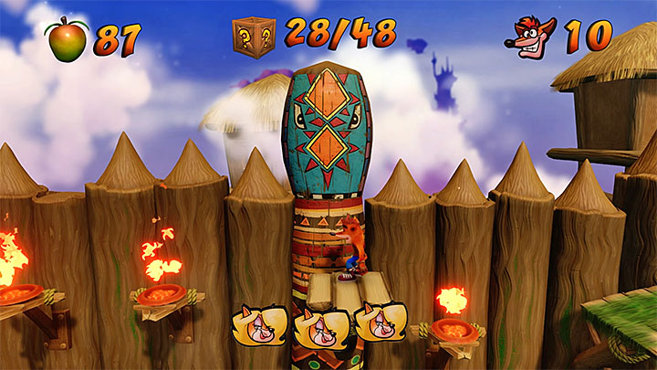The hardest part of the level is after you unlock the last checkpoint shown on the above picture - Native Fortress | N. Sanity Island | Levels - Crash Bandicoot - N. Sanity Island - Crash Bandicoot N. Sane Trilogy Game Guide