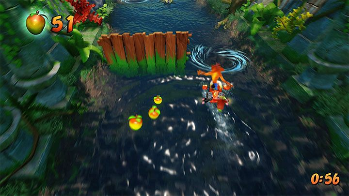 During the first jetboard ride, focus on avoiding, mines and whirlwinds - Plant Food | Crash Bandicoot 2 | Levels - Crash Bandicoot 2 - Sewer Warp Room - Crash Bandicoot N. Sane Trilogy Game Guide