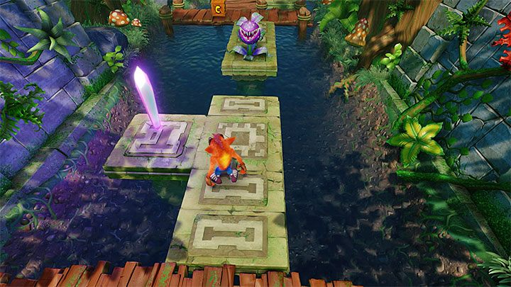 After you go out into the mainland, reach the violet crystal (the above screenshot) and the checkpoint - Plant Food | Crash Bandicoot 2 | Levels - Crash Bandicoot 2 - Sewer Warp Room - Crash Bandicoot N. Sane Trilogy Game Guide