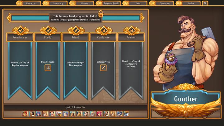 Gunther s the local blacksmith, who will be crafting better weapons for you - Which citizens to enter relationships with   Citizens - Citizens - Regalia: Of Man and Monarchs Game Guide