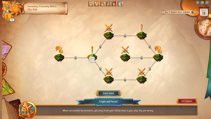 In each location, there is a number of fields that you have to visit to complete a given dungeon. - Journeys - general description   Dungeons and combat - Dungeons and combat - Regalia: Of Man and Monarchs Game Guide