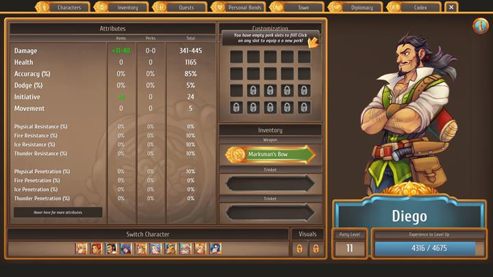 Diego is a self-assured archer - The best combat party members and skills   Dungeons and combat - Dungeons and combat - Regalia: Of Man and Monarchs Game Guide