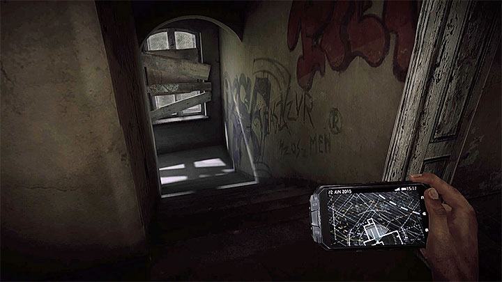 After shooting him you can look around the area with a staricase and use the stairs, presented in the picture, to go down - The Asylum - building B | Hidden memories - Hidden memories - Get Even Game Guide