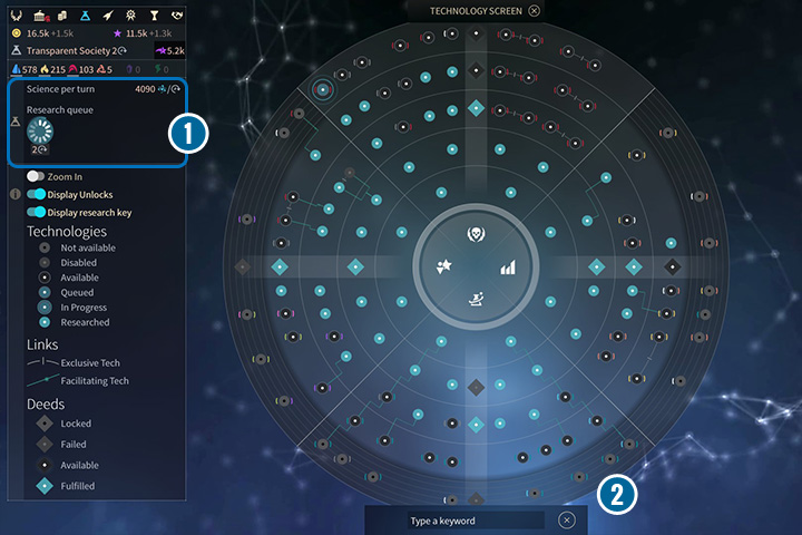 Here you can select the technologies, that you want your researchers to develop - Economy and Technology Screens - Interface - Endless Space 2 Game Guide