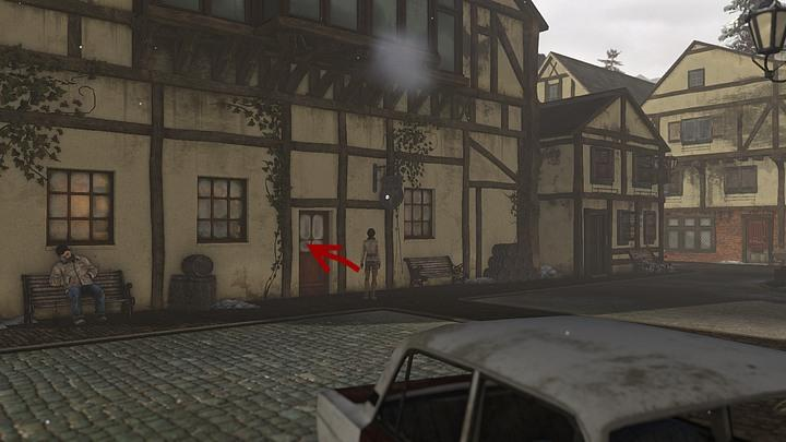 Turn right at the junction and use a single door below the signpost to enter the tavern - Find Simon Steiner | Chapter three | Walkthrough - Chapter three - Syberia 3 Game Guide