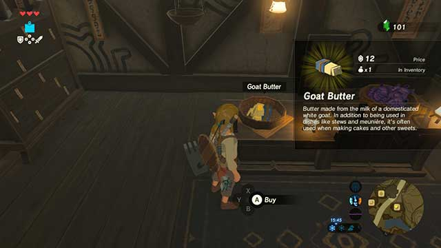 Goat butter can be purchased in a shop - Dueling Peaks Tower | Side quests - Side quests - The Legend of Zelda: Breath of the Wild Game Guide