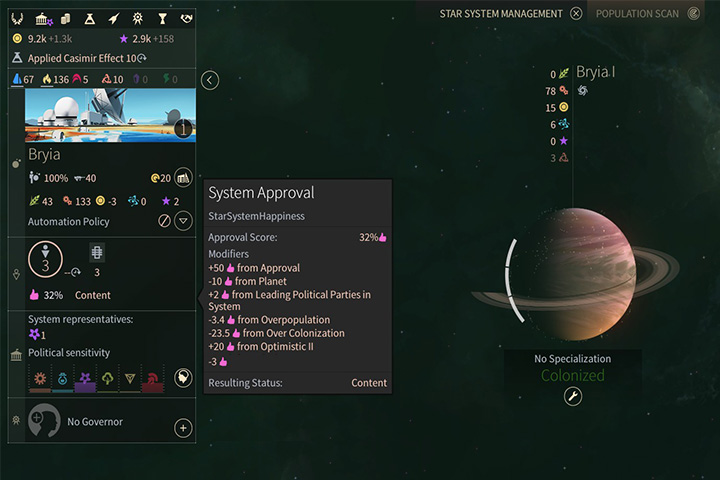 Approval is a very important factor in the game. Colonizing a system with a single planet, which has a quite unfriendly environment, is usually a bad idea. - FIDSI and Approval in Endless Space 2 - Gameplay basics - Endless Space 2 Game Guide