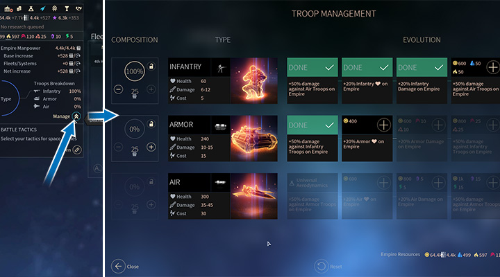 Your choice of ground army is unlocked with your technology progress which allows you to change your units - Armies and ground battles in Endless Space 2 - Fleet and Army - Endless Space 2 Game Guide