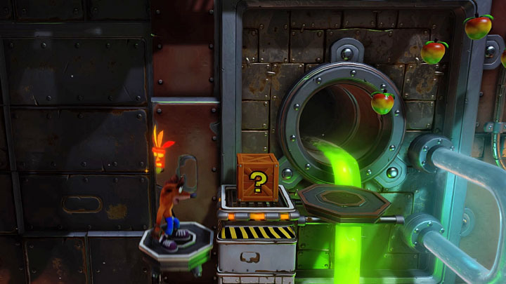 In the next section, take care while jumping over red pipes close to each other - Heavy Machinery | Cortex Island | Levels - Crash Bandicoot - Cortex Island - Crash Bandicoot N. Sane Trilogy Game Guide