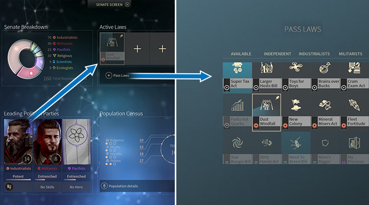 Every party has its own idea for developing your systems - Governments, elections, introducing laws in Endless Space 2 - Gameplay basics - Endless Space 2 Game Guide
