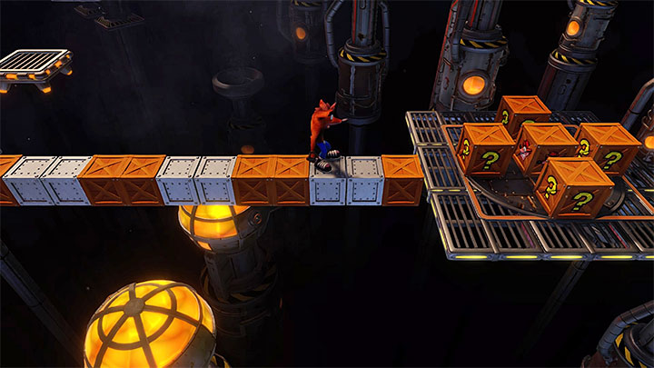 Start by smashing the crates in the starting location, but watch out the TNT crate (the countdown starts after the metal crate drops onto it) - Generator Room | Cortex Island | Levels - Crash Bandicoot - Cortex Island - Crash Bandicoot N. Sane Trilogy Game Guide
