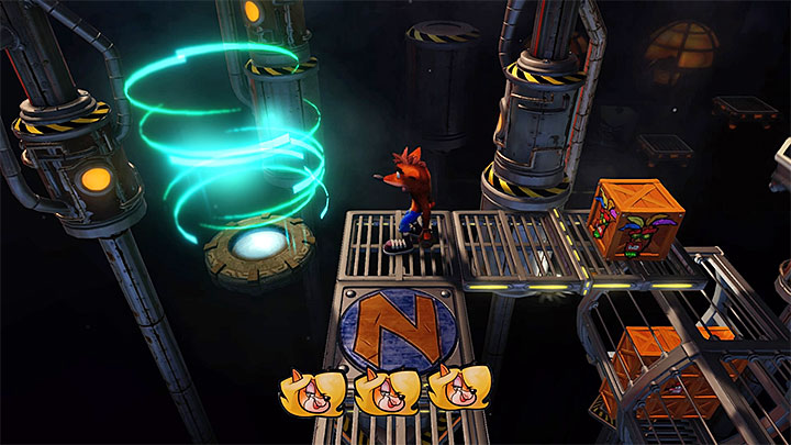 Start jumping towards the small platforms (some of them will soon drop down to the chasm, so dont stop) and obtain Tawnas second token - Generator Room | Cortex Island | Levels - Crash Bandicoot - Cortex Island - Crash Bandicoot N. Sane Trilogy Game Guide
