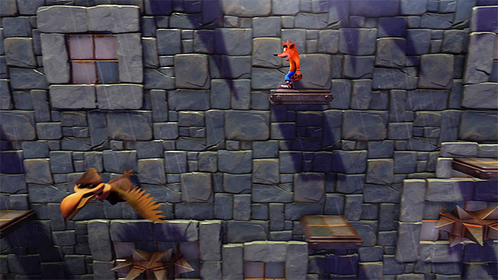 Jump onto one of the platforms propelled by the rotary mechanism - Slippery Climb | Cortex Island | Levels - Crash Bandicoot - Cortex Island - Crash Bandicoot N. Sane Trilogy Game Guide