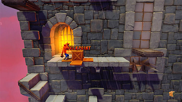Continue up, jump onto the ledge at the right moment and QUICKLY run up the stairs - Slippery Climb | Cortex Island | Levels - Crash Bandicoot - Cortex Island - Crash Bandicoot N. Sane Trilogy Game Guide