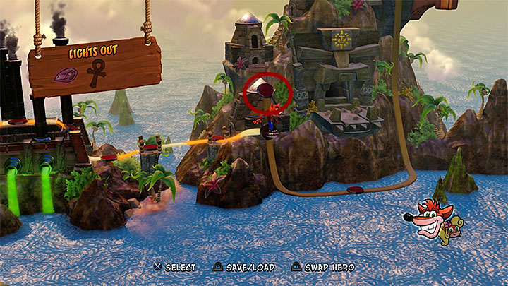 You can reach the starting point of this stage along he path shown in the above screenshot - Fumbling in the Dark (secret stage) | Cortex Island | Levels - Crash Bandicoot - Cortex Island - Crash Bandicoot N. Sane Trilogy Game Guide